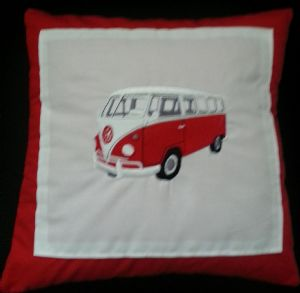 PERSONALISED EMBROIDERED VW CAMPER VAN THEME CUSHION - red